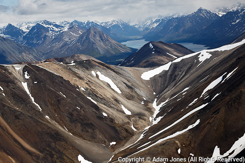 Aerial view of mountain pass, Alaska