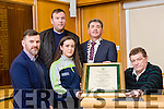 At the  Tralee Municipal District annual awards ceremony  on Friday,  in the Council chambers Presented by Kerry Mayor Michael O'Shea to Kerry Ladies Under u16's l-r Graham Shine, Ciara O'Brien, Dan Carney and Maurice McNamara