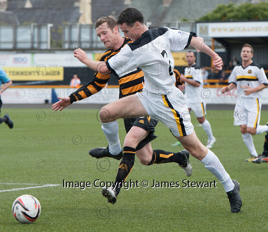 Alloa's Andy Kirk and Dumbarton's Paul McGinn challenge for the ball.