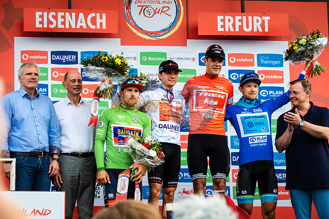 Jersey winners overall Red Jasper Stuyven (BEL) Trek-Segafredo, points Green Sonny Colbrelli (ITA) Team Bahrain-Merida, young rider White Marc Hirschi (SUI) Team Sunweb and mountains Blue Magnus Cort Nielsen (DEN) Astana Pro Team at the end of Stage 4 of the Deutschland Tour 2019, running 159.5km from Eisenach to Erfurt, Germany. 1st September 2019.<br /> Picture: ASO/Henning Angerer | Cyclefile<br /> All photos usage must carry mandatory copyright credit (© Cyclefile | ASO/Henning Angerer)