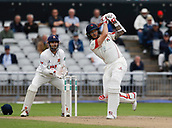 7th September 2017, Emirates Old Trafford, Manchester, England; Specsavers County Championship, Division One; Lancashire versus Essex; Kyle Jarvis of Lancashire hits a six before he is bowled next ball by Simon Harmer to end the Lancashire innings