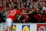 Ben Woodburn of Wales celebrates scoring the first goal during the World Cup Qualifying Group D match at the Cardiff City Stadium, Cardiff. Picture date 2nd September 2017. Picture credit should read: Simon Bellis/Sportimage