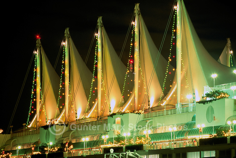 Vancouver, BC, British Columbia, Canada - Christmas Lights at Canada Place Convention Centre