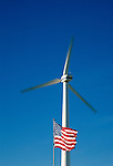 Wind turbine and flag, Southeastern Nebraska, USA