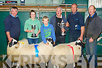 Champion Rams who were 1st/2nd and 3rd in the Ram and Lamb Show Sale at Miltown Mart on Friday, l-r: Pat Scannell 3rd Macroom, Niamh Clifford (2nd), Jack Clifford (Caherciveen) Padraig Dean (Camp,Judge), James Clifford (1st Caherciveen) and Brendan O'Connor (Miltown Mart).