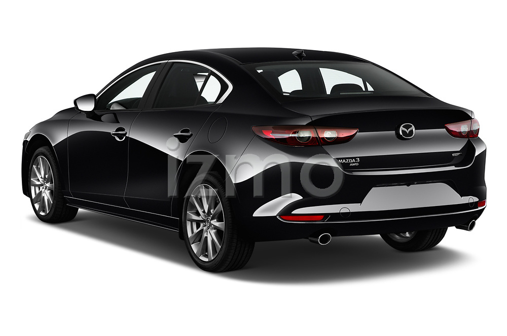 Car pictures of rear three quarter view of 2019 Mazda Mazda-3 Preferred-Package 4 Door Sedan Angular Rear