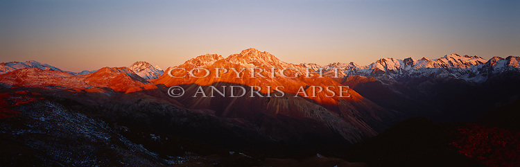 Sunset on the Red Hills. South Westland Region. New Zealand.