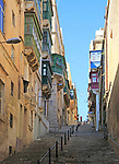 Steep historic street in city centre of Valletta, Malta