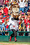 8 July 2017: Washington Nationals Mascot Abraham Lincoln entertains the fans running in the Presidents Race between innings of a game against the Atlanta Braves at Nationals Park in Washington, DC. The Braves shut out the Nationals 13-0 to take the third game of their 4-game series. Mandatory Credit: Ed Wolfstein Photo *** RAW (NEF) Image File Available ***