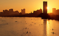Charles River sunrise rowing, Boston