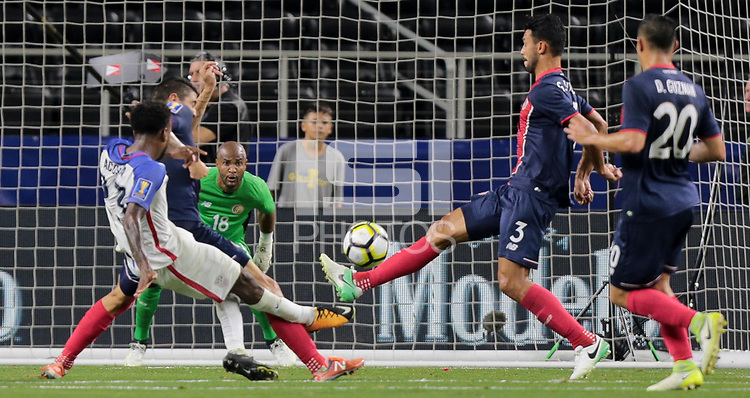 Arlington, TX - Saturday July 22, 2017: Kellyn Acostaduring a 2017 Gold Cup Semifinal match between the men's national teams of the United States (USA) and Costa Rica (CRC) at AT&T stadium.