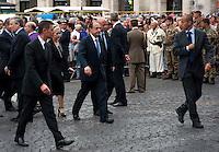 Roma 27 Luglio 2011.I funerali di stato del primo caporal maggiore  Davide Tobini del  183esimo reggimento Nembo di Pistoia, ucciso in Afghanistan nella Basilica di Santa Maria degli Angeli a Roma. Il  presidente del Senato, Renato Schifani
