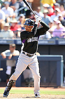 Carlos Gonzalez, Colorado Rockies 2010 spring training, against the Seattle Mariners at Peoria Stadium, Peoria, AZ - 03/18/2010..Photo by:  Bill Mitchell/Four Seam Images.