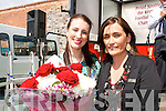 Kerry Rose Gemma Kavanagh being presented with a bouquet of flowers from Garvey's SuperValu, Tralee manager Sandra Lynch  at the Garvey's SuperValu barbecue fundraiser for the Stack's Strictly Come Dancing event, in Tralee on Friday.