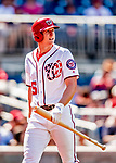 23 August 2018: Washington Nationals outfielder Andrew Stevenson returns to the dugout during a game against the Philadelphia Phillies at Nationals Park in Washington, DC. The Phillies shut out the Nationals 2-0 to take the 3rd game of their 3-game mid-week divisional series. Mandatory Credit: Ed Wolfstein Photo *** RAW (NEF) Image File Available ***