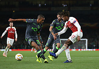 Arsenal's Alex Iwobi gets in a cross<br /> <br /> Photographer Rob Newell/CameraSport<br /> <br /> UEFA Europa League Group E - Arsenal v Sporting CP - Thursday 8th November 2018 - Arsenal Stadium - London<br />  <br /> World Copyright © 2018 CameraSport. All rights reserved. 43 Linden Ave. Countesthorpe. Leicester. England. LE8 5PG - Tel: +44 (0) 116 277 4147 - admin@camerasport.com - www.camerasport.com