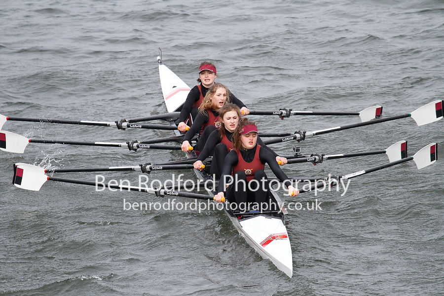 Crew: 272  Stratford-upon-Avon BC  Event: Girls CHAMP quads<br /> <br /> Schools' Head of the River 2017<br /> <br /> To purchase this photo, or to see pricing information for Prints and Downloads, click the blue 'Add to Cart' button at the top-right of the page.