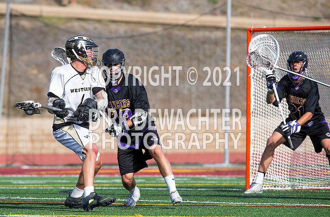San Diego, CA 05/25/13 - Addison Sherwood (Carlsbad #21), John Rankin (Westview #4) and Jack Beetham (Carlsbad #13) in action during the 2013 Boys Lacrosse San Diego CIF DIvision 1 Championship game.  Westview defeated Carlsbad 8-3.