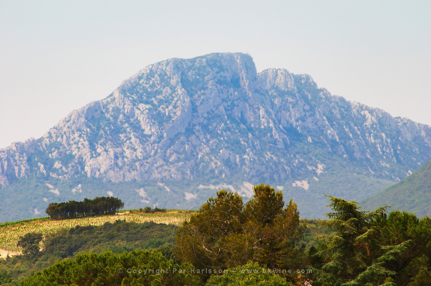 The Pic St Loup mountain top peak. Pic St Loup. Languedoc. France. Europe.