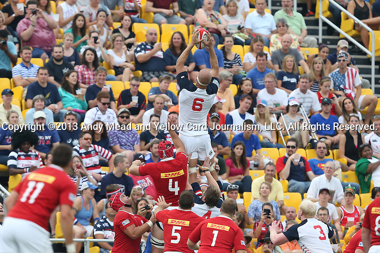 17 August 2013: Scott LaValla (USA) (6) catches a throw-in. The United States Men's National Rugby Team played the Canada Men's Nationa Rugby Team at Blackbaud Stadium in Charleston, South Carolina in the first leg of their 2015 Rugby World Cup Qualifying Series. Canada won the game 27-9.