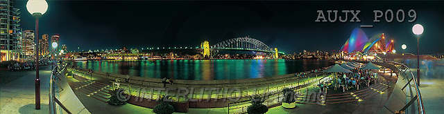 Dr. Xiong, LANDSCAPES, panoramic, photos, Sydney Cove at night, Australia(AUJXP009,#L#)