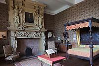 Europe/France/Aquitaine/64/Pyrénées-Atlantiques/Pays-Basque/Mauléon-Licharre: Le château de Maytie dit d'Andurain - La chambre de l'évèque avec sa cheminée sculptée