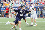 Jack Tigh  (#18) works around the Albany defense as Yale defeats UAlbany 20-11 in the NCAAA semifinal game at Gillette Stadium, May 26.