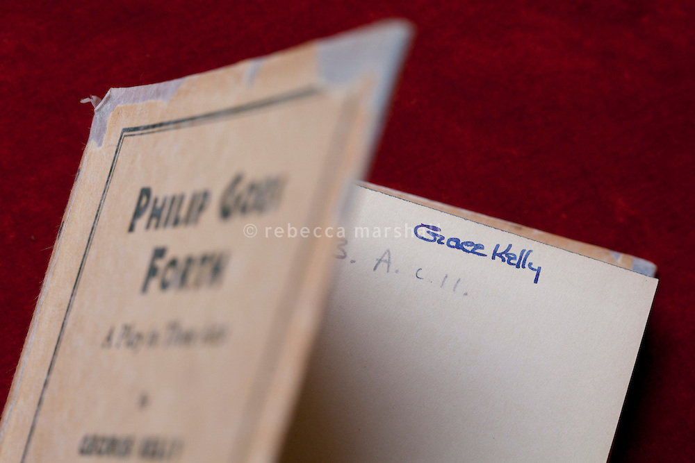 Grace Kelly's signature inside one of her books, signed when she was young girl, part of the collection at the Princess Grace Irish Library, Monaco, 6 July 2013