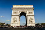 The peloton round the Arc de Triomphe during Stage 21 of the 2019 Tour de France running 128km from Rambouillet to Paris Champs-Elysees, France. 28th July 2019.<br /> Picture: ASO/Alex Broadway | Cyclefile<br /> All photos usage must carry mandatory copyright credit (© Cyclefile | ASO/Alex Broadway)