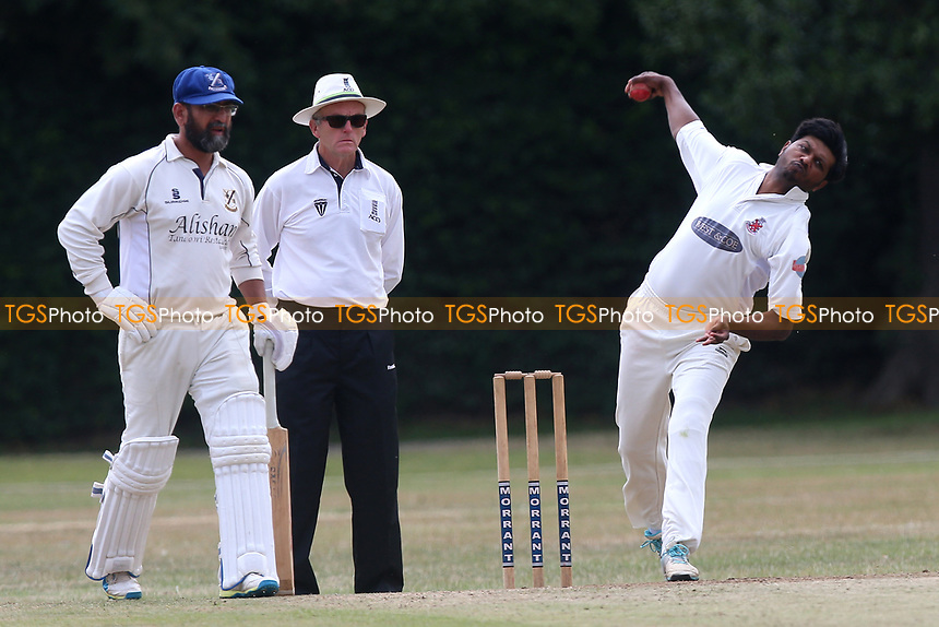 T Abbas of Hornchurch in bowling action during Upminster CC (batting) vs Hornchurch CC, Shepherd Neame Essex League Cricket at Upminster Park on 8th July 2017