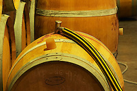 Wine being pumped over from barrel to barrel - Chateau Baron Pichon Longueville, Pauillac, Medoc, Bordeaux, Grand Cru