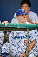 Caleb Sampen (51) of the Ogden Raptors before a game against the Orem Owlz at Lindquist Field on August 4, 2018 in Ogden, Utah. The Owlz defeated the Raptors 15-12. (Stephen Smith/Four Seam Images)