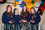 winners<br /> ----------<br /> Pictured L-R Alana O'Connor,Ciara Shannon,Niamh Leen with Jessica Lightfoot all received awards last Thursday night at Causeway comprehensive school.
