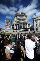 MP Grant Robertson speaks. Semi-automatic weapons ban and firearms advertising regulation petitions at Parliament in Wellington, New Zealand on Thursday, 21 March 2019. Photo: Dave Lintott / lintottphoto.co.nz