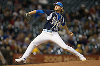 Relief pitcher Brandon Lafferty #34 of the UCLA Bruins in action versus the Baylor Bears  in the 2009 Houston College Classic at Minute Maid Park February 28, 2009 in Houston, TX.  The Bears defeated the Bruins 5-1. (Photo by Brian Westerholt / Four Seam Images)