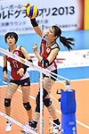 (R-L) Kanako Hirai, Haruka Miyashita (JPN),<br /> AUGUST 18, 2013 - Volleyball :<br /> 2013 FIVB World Grand Prix, Preliminary Round Week 3 Pool M match Japan 3-2 Czech Republic at Sendai Gymnasium in Sendai, Miyagi, Japan. (Photo by Ryu Makino/AFLO)