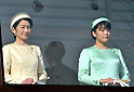 December 23, 2011, Tokyo, Japan - Princess Kiko, left, wife of Prince Akishino, and their daughter Princess Mako stand on a balcony of the Imperial Palace in Tokyo to greet well-wishers who celebrate the emperor Akihito's 78th birthday on Friday, December 23, 2011. (Photo by Natsuki Sakai/AFLO)