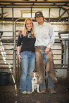 Late winter calf marking, branding and doctoring at the Stony Creek corral with the Busi Ranch in the Sierra Nevada Foothills of Amador County, Calif...Lindsey and Mattley with Oscar