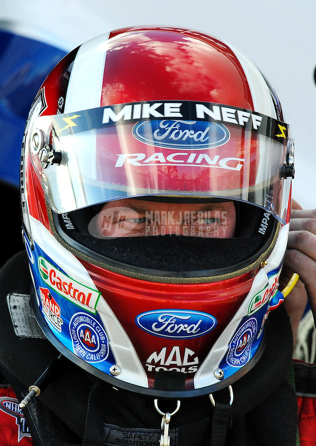 Jan 24, 2009; Chandler, AZ, USA; NHRA funny car driver Mike Neff during testing at the National Time Trials at Firebird International Raceway. Mandatory Credit: Mark J. Rebilas-