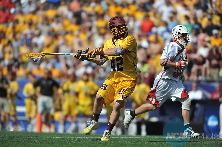 27 MAY 2012:  Cory Nowak (42) of Salisbury University and Doug Meehan (39) of SUNY Cortland  battle for the ball during the Division III Men?s Lacrosse Championship held at Gillette Stadium in Boston, MA. Salisbury defeated SUNY Cortland 14-10 for the national title.  Larry French/NCAA Photos