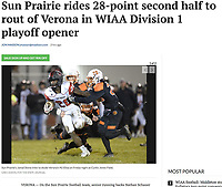 Sun Prairie's Jamal Stone looks to escape Verona's NJ Elias, as Sun Prairie takes on Verona in Wisconsin WIAA first-round high school football playoffs on Friday, 10/25/19 at Curtis Jones Field in Verona | Wisconsin State Journal article front page C1 and C6 Sports 10/26/19 and online at https://madison.com/wsj/sports/high-school/football/sun-prairie-rides--point-second-half-to-rout-of/article_d9c50217-8644-5a07-91e5-eb4080dbd3f3.html
