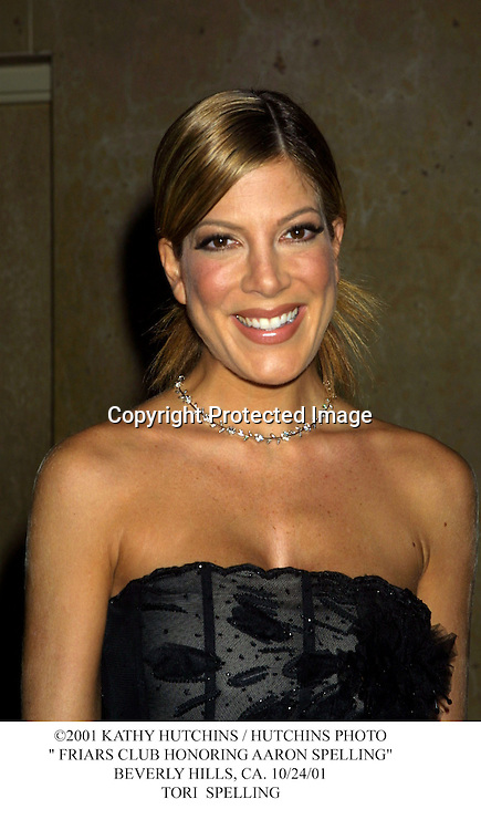 "©2001 KATHY HUTCHINS / HUTCHINS PHOTO."" FRIARS CLUB HONORING AARON SPELLING"".BEVERLY HILLS, CA. 10/24/01.TORI  SPELLING"