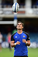 Jackson Willison of Bath Rugby during the pre-match warm-up. Heineken Champions Cup match, between Bath Rugby and Stade Toulousain on October 13, 2018 at the Recreation Ground in Bath, England. Photo by: Patrick Khachfe / Onside Images
