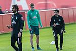 07.01.2020, Sportzentrum RCD Mallorca, Son Bibiloni, ESP, TL Werder Bremen -  Training Tag 02<br /> <br /> im Bild / picture shows <br /> Dehnuebungen / Gymnastik EGO Rad der Spieler nach dem  Freundschaftspiel<br /> <br /> David Philipp (Werder Bremen #31) <br /> Ilia Gruev (Co-Trainer SV Werder Bremen)<br /> <br /> Reha Training<br /> <br /> Foto © nordphoto / Kokenge