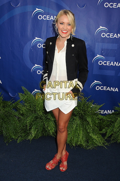 Emily Osment<br /> 6th Annual Oceana SeaChange Gala held at a Private Villa, Laguna Beach, California, USA. <br /> August 18th, 2013<br /> full length black jacket white top red pink sandals shoes skirt blouse sheer hands in pockets military <br /> CAP/ADM/BP<br /> &copy;Byron Purvis/AdMedia/Capital Pictures