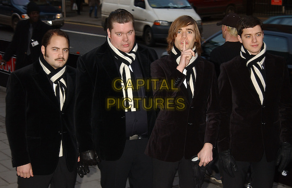 THE HIVES.arrivals at the NME Awards.at PoNaNa, Hammersmith.www.capitalpictures.com.sales@capitalpictures.com.© Capital Pictures.black and white.