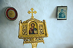 Icons inside Greek orthodox church, Kastrou Monolithos, Rhodes, Greece