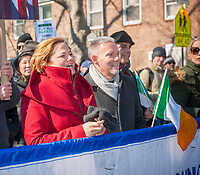 "NY City Council Speak Melissa Mark-Viverito, left and NY council member Jimmy Van Bramer at the Sunnyside, Queens St. Patrick's Parade on March 5, 2017. Billed as ""St. Pat's For All"" the festive event started as an alternative to the New York parade, and organizers have endeavored to make the parade inclusive allowing gays and lesbians to march who were banned from the New York parade. (© Richard B. Levine)"