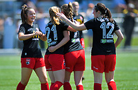 Action from the National Women's League football match between Capital and Canterbury at Petone Memorial Park in Petone, New Zealand on Saturday, 2 November 2019. Photo: Dave Lintott / lintottphoto.co.nz