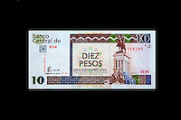 """Cuba, Havana.  """"Pesos Convertibles"""", the pesos used by tourists in Cuba.  This is a 10 peso note."""